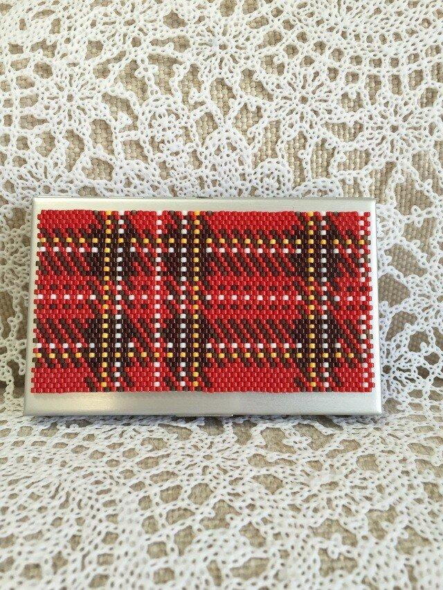 【特価】カードケース(赤チェック柄)の画像1枚目