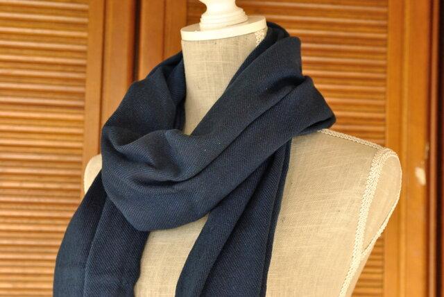 播州織×藍染マフラー(半巾/巾45cm)/淡の画像1枚目