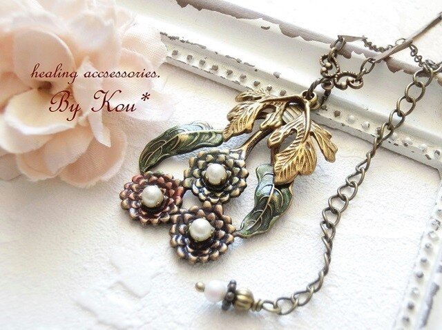~*Bouquet of dahlia*~vintage ネックレス/Pの画像1枚目