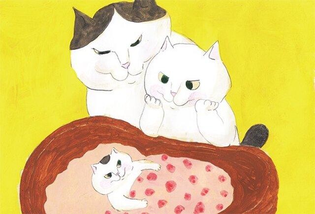 カマノレイコ オリジナル猫ポストカード「赤ちゃん」2枚セットの画像1枚目