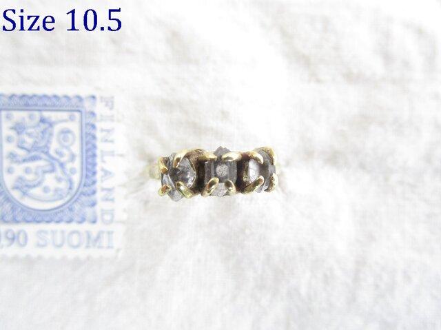 【再販】真鍮 3 ハーキマーダイヤモンド リングの画像1枚目