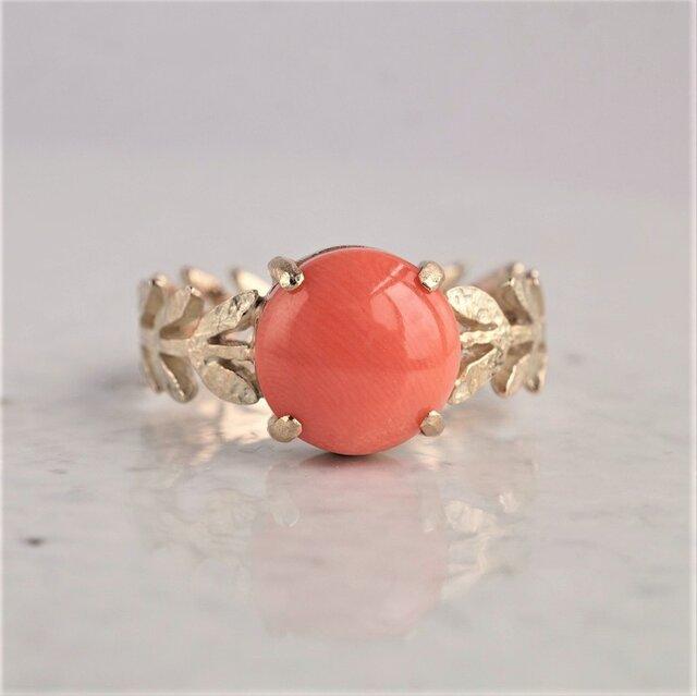 Pink coral Olive leaf ring {OP711K10}の画像1枚目