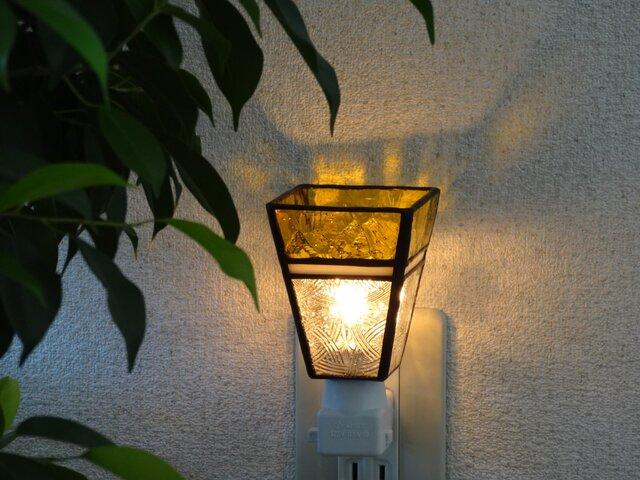 【受注制作】癒しのおやすみランプ・ちょっとだけ和(黄色)・ステンドグラスの画像1枚目