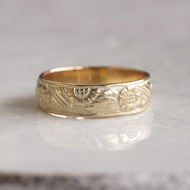 K18 Sunflower ring {R067K18}の画像1枚目