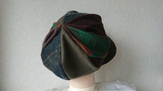 魅せる帽子☆ふんわり♪異素材のグラデーションキャスケット~グリーン&ブラウンの画像1枚目