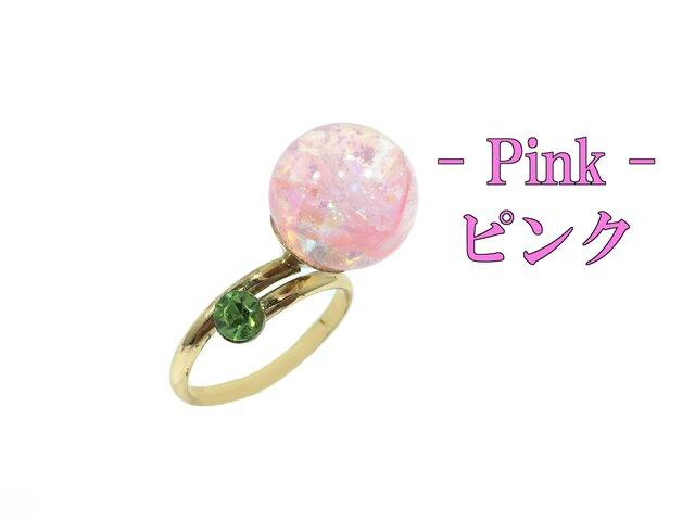 キラキラ ガラスドーム スノードーム リング ピンクの画像1枚目