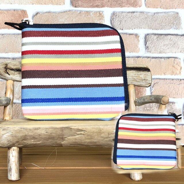 新案設計・倉敷帆布の薄い財布 水色系縞柄  紺ファスナーの画像1枚目