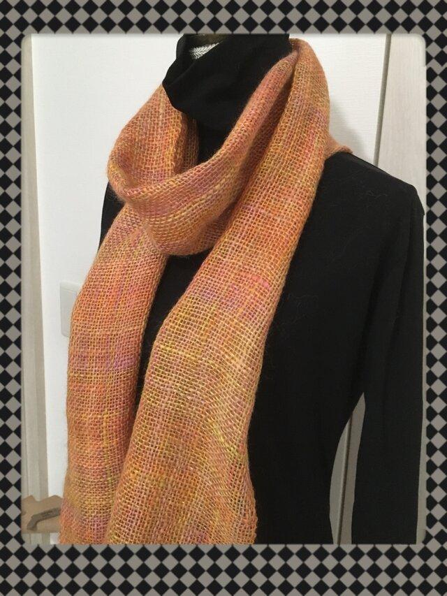 手織りのストール (オレンジ)の画像1枚目