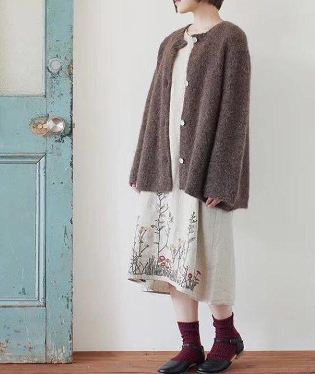 【受注製作】手作綿麻・ロング・天然麻生地刺繍 ワンピース TR33490の画像1枚目