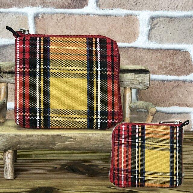 新案設計・倉敷帆布の薄い財布  黄系格子 赤ファスナーの画像1枚目