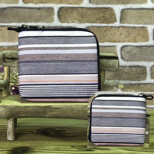新案設計・倉敷帆布の薄い財布   グレー系生地 紺ファスナーの画像1枚目