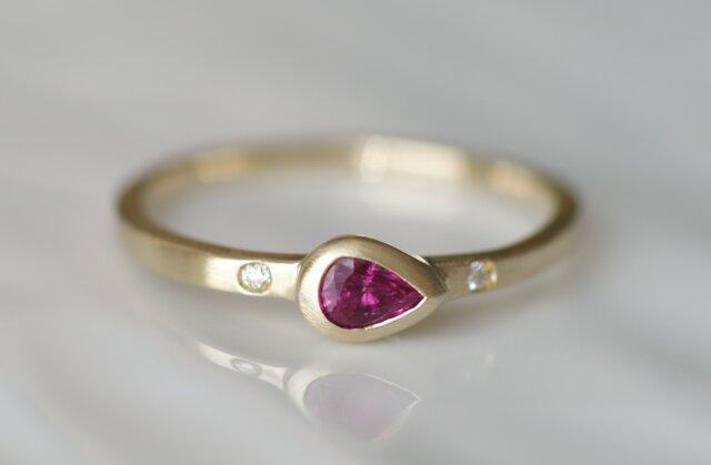 K10製 ルビーとダイヤモンドのリングの画像1枚目