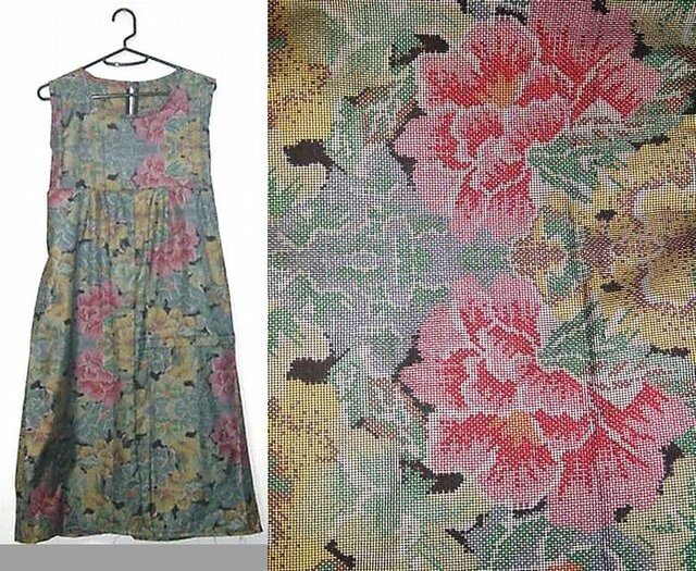 Sold Out着物リメイク♪牡丹が素敵な大島紬チュニックワンピース♪ハンドメイド・シルク・花柄の画像1枚目