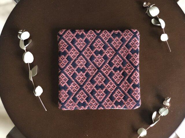 ⌘こぎん刺しコースター⌘ モドコ:変形花つなぎの縦枠の画像1枚目