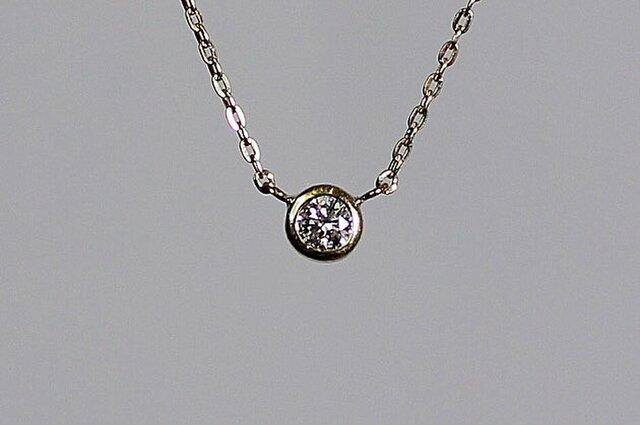Round brilliant cut Diamond Necklace / K18YGの画像1枚目