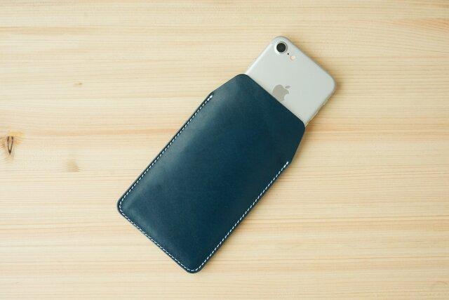 iPhone 各種 レザー スリーブケース ネイビー (11 Pro/11/11 Pro Max)の画像1枚目
