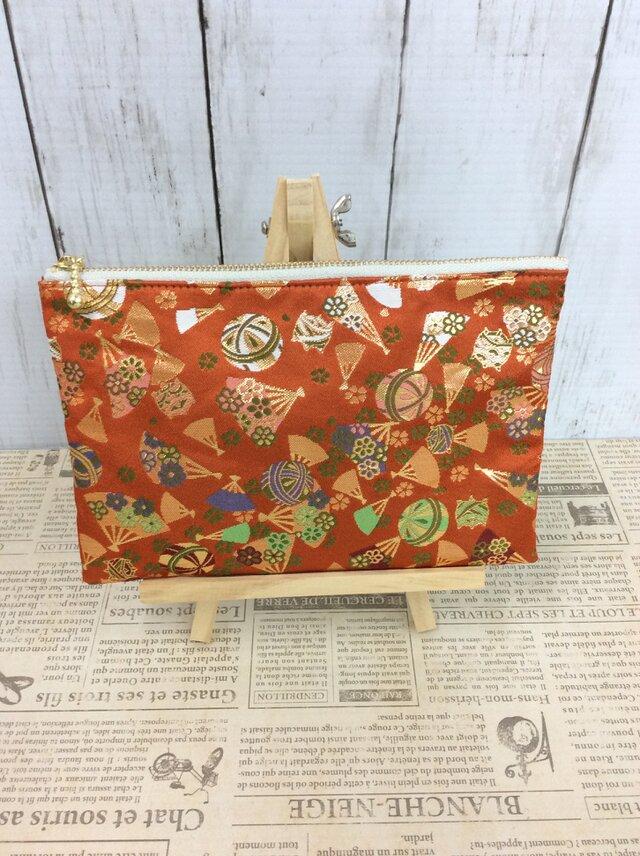 京都・西陣織・金襴の生地で仕立てた和柄のポーチ 20cmファスナー     Lサイズの画像1枚目