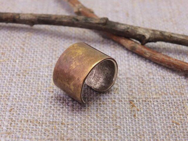 Cuff Rusty w9 Bs -アンティーク仕上げ 真鍮のイヤーカフ幅9の画像1枚目