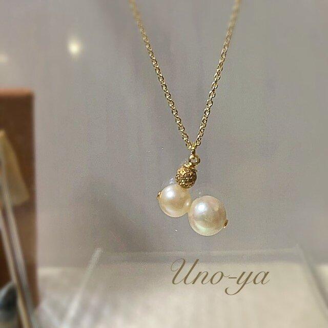 本真珠(クリーム系)Wネックレスの画像1枚目