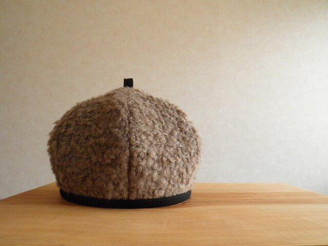 ブークレーニットのベレー帽 カフェモカの画像1枚目