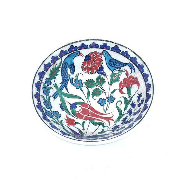 ❖手描き絵付け陶器❖ イズニック・ボウル 鳥花模様の画像1枚目