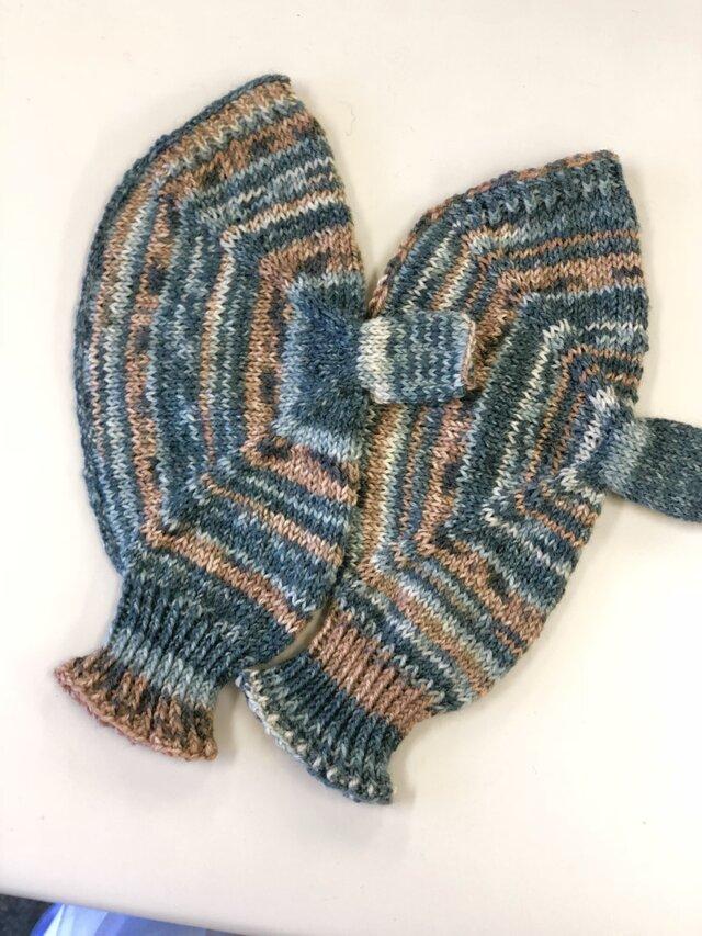 №13送料込メンズサイズドイツソックヤーンの手編み手袋の画像1枚目