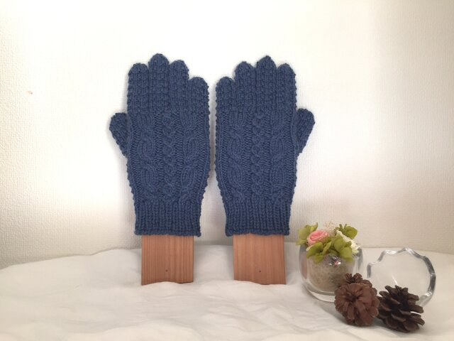 ★☆手編み♪模様編み5本指手袋(洗濯機で洗えます♪)☆★の画像1枚目