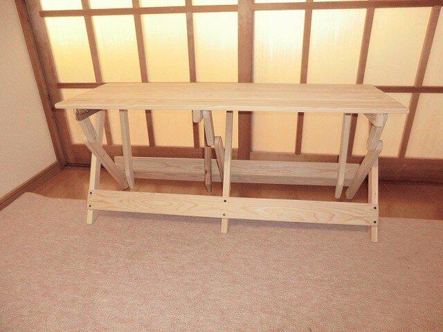 杉折りたたみベンチ(100cm)無塗装の画像1枚目