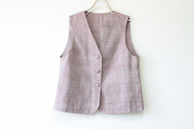 ☆ピンクグレー 紬ベスト☆ポケット付きの画像1枚目