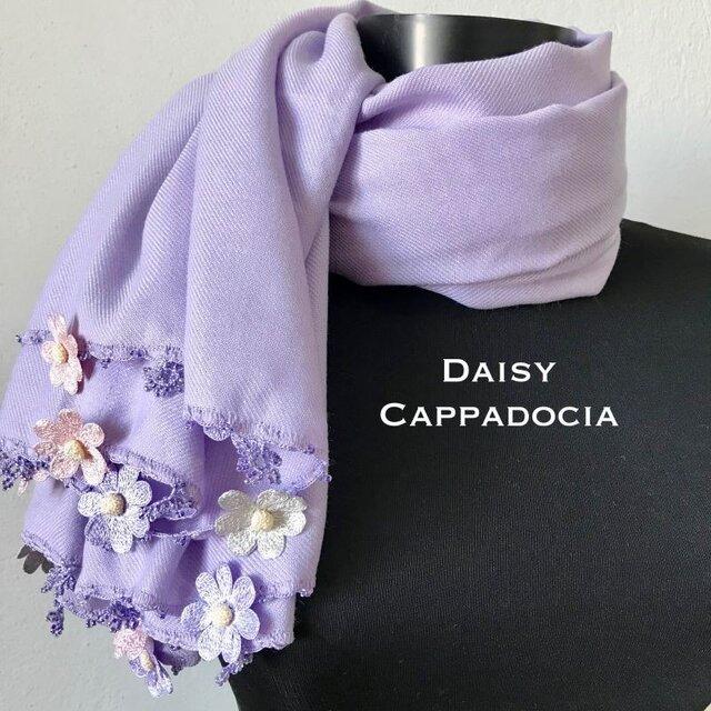 【オータムセール】刺繍のお花つき パシュミナストール「デイジー」 ラベンダーの画像1枚目