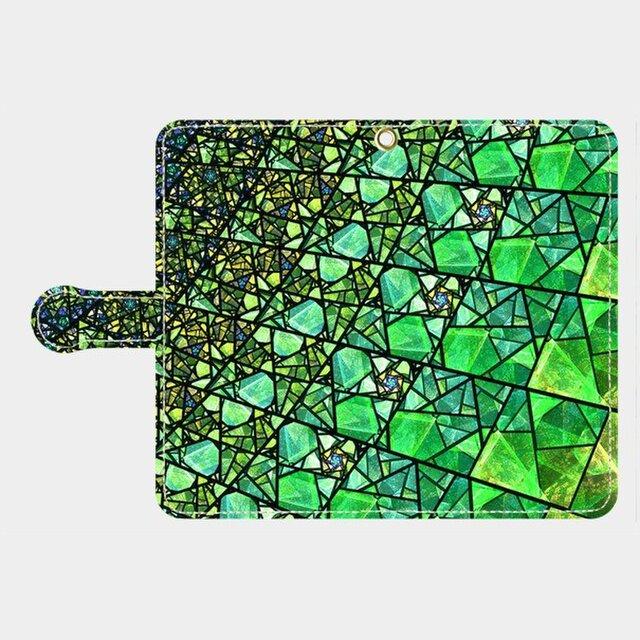 ステンドグラス モチーフ (エメラルドグリーン) Galaxy S8等 大サイズスマホ専用 手帳型の画像1枚目