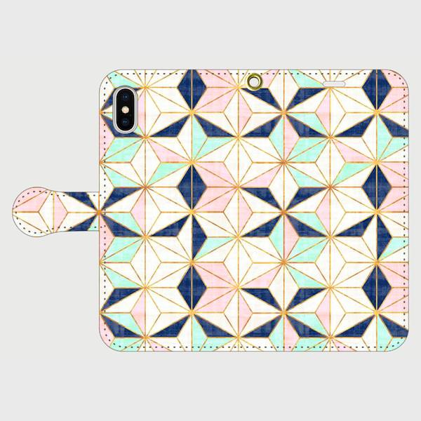 カラフルタイルパターン(星) iphone 5/5s/6/6s/SE/7/8/X 専用 手帳型ケースの画像1枚目