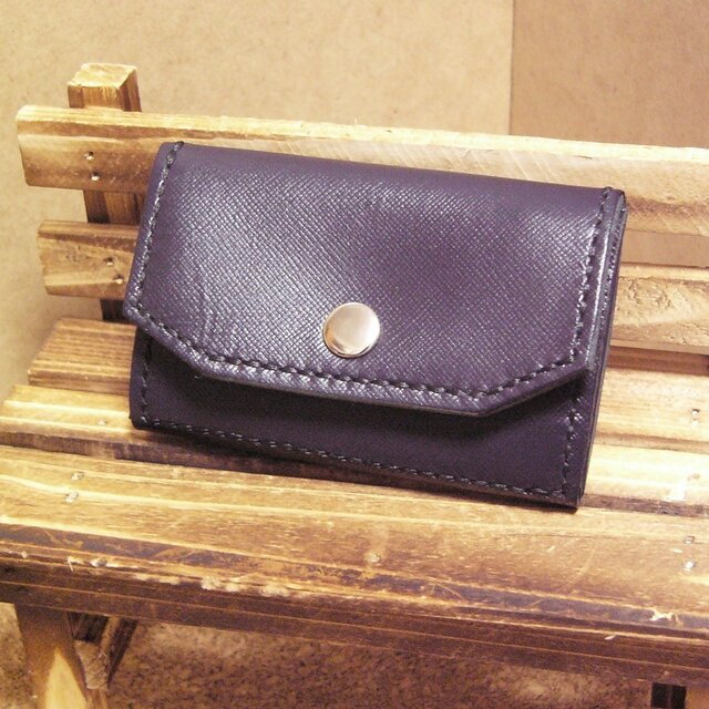 本革カードと小銭入れ 紺色 財布の画像1枚目