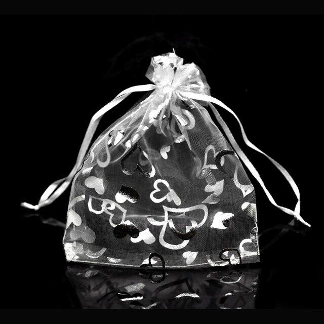 10枚入り オーガンジー巾着袋 ハート 【シルバー 銀色 ホワイト 白色】 アクセサリーバック ラッピング プレゼントの画像1枚目