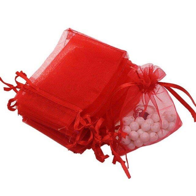 10枚入り オーガンジー巾着袋 【レッド 赤色】 アクセサリーバック ラッピング 無地 シンプル ギフトの画像1枚目