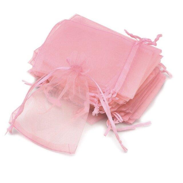 10枚入り オーガンジー巾着袋 【ピンク 桃色】 アクセサリーバック ラッピング 無地 シンプル ギフトの画像1枚目