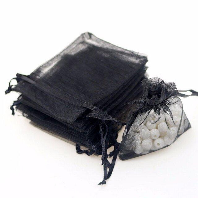 10枚入り オーガンジー巾着袋 【ブラック 黒色】 アクセサリーバック ラッピング 無地 シンプル ギフトの画像1枚目