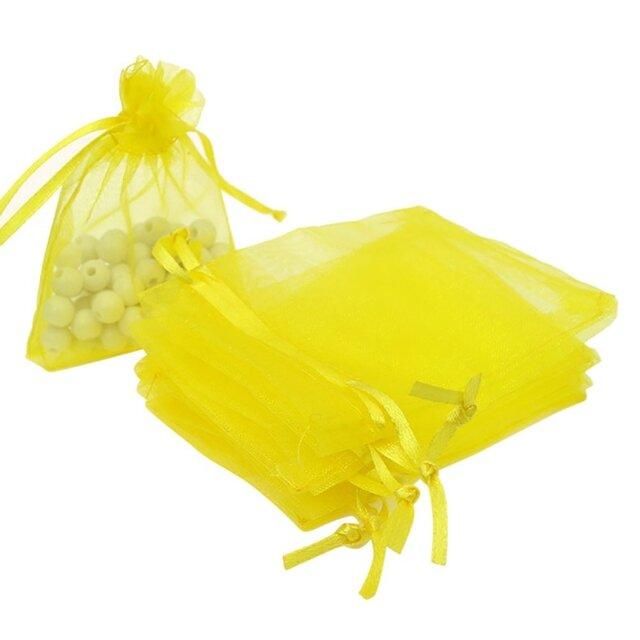 10枚入り オーガンジー巾着袋 【イエロー 黄色】 アクセサリーバック ラッピング 無地 シンプル ギフトの画像1枚目