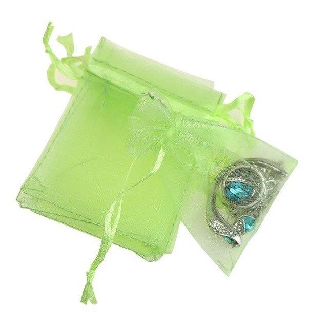 10枚入り オーガンジー巾着袋 【グリーン 緑色】 アクセサリーバック ラッピング 無地 シンプル ギフトの画像1枚目