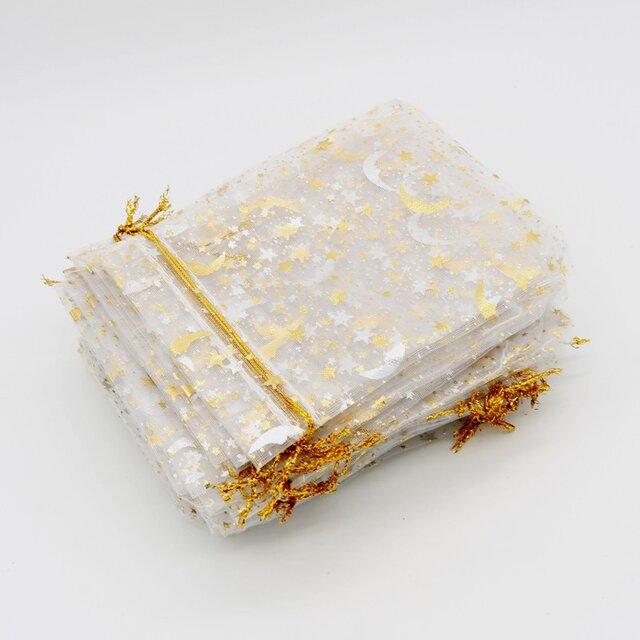 10枚入り オーガンジー巾着袋 星 月 【ホワイト 白色】 アクセサリーバック ラッピング スター ムーン ギフトの画像1枚目
