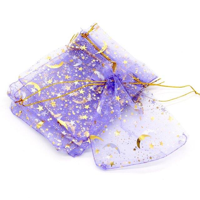 10枚入り オーガンジー巾着袋 星 月 【バイオレット 紫色】 アクセサリーバック ラッピング スター ムーン ギフトの画像1枚目