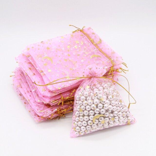20枚入り オーガンジー巾着袋 星 月 【ピンク 桃色】 アクセサリーバック ラッピング スター ムーン ギフトの画像1枚目