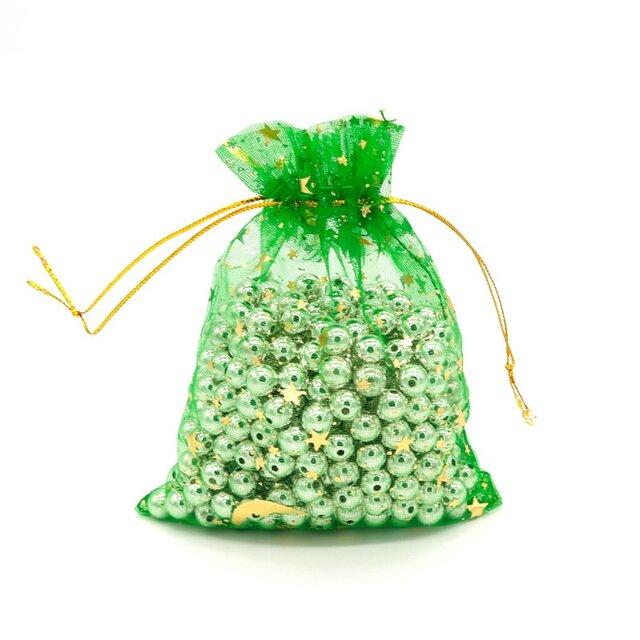 10枚入り オーガンジー巾着袋 星 月 【グリーン 緑色】 アクセサリーバック ラッピング スター ムーン ギフトの画像1枚目