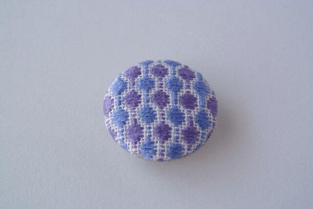 こぎん刺し*帯留め 青×紫の画像1枚目