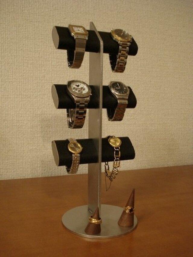 腕時計 飾る ブラック6本掛けダブルリングスタンド付きアクセサリースタンドの画像1枚目