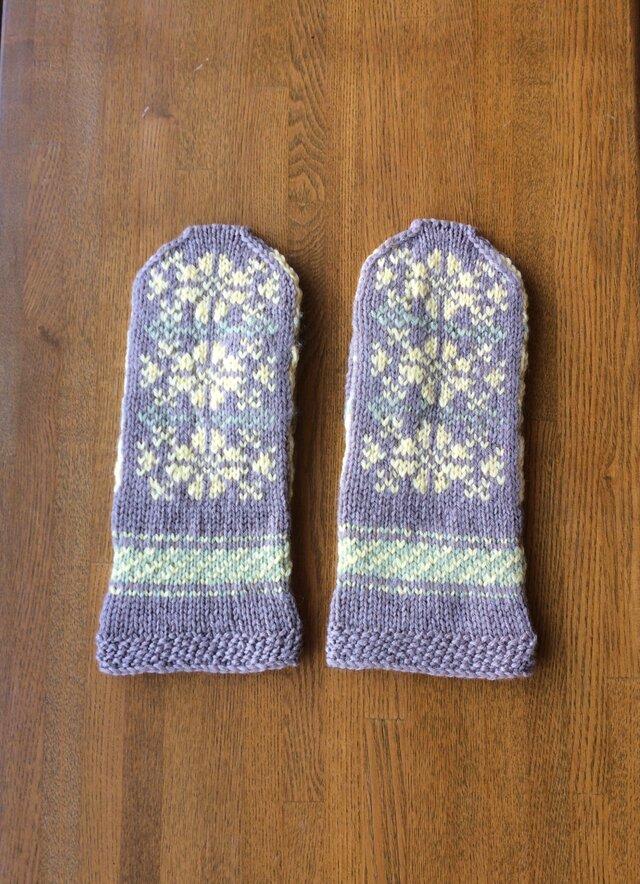 ミトン手袋 手編み ベージュの画像1枚目