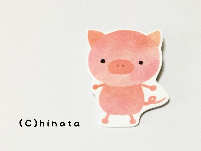 可愛いぶたさんのイラストブローチ 陽向 ハンドメイド通販 Iichi