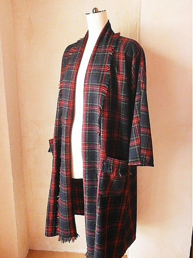さらっと羽織れる フリンジ ドレープローブ コーディガン ウール ネイビー チェックの画像1枚目