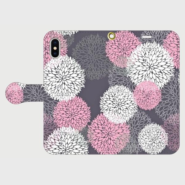 北欧デザイン ボタニカルフラワー(ピンク) iphone 5/5s/6/6s/SE/7/8/X 専用 手帳型ケースの画像1枚目