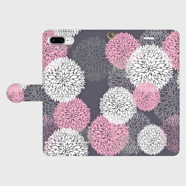 北欧デザイン ボタニカルフラワー(ピンク)  iphone 6plus/7plus/8plus 専用 手帳型ケースの画像1枚目